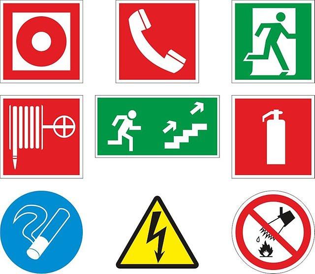 Знаки безопасности с поясняющими надписями (на казахском и русском языках)