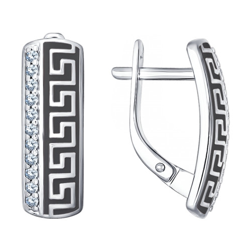 Серебряные серьги с эмалью