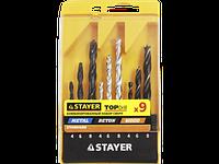 "Набор STAYER ""STANDARD"": Сверла комбинированные, дерево (4-5-6-8-10мм), металл (2-3-4-6-8мм), бетон"