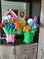 Корзина с цветами из шаров в Павлодаре, фото 1