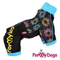 FW262-2014М For My Dogs, Зимний комбинезон *Снежинки*, черно-голубой, для мальчиков