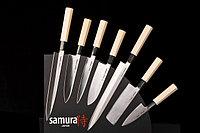 Набор из 7 кухонных стальных ножей и магнитной подставки samura Оkinaw