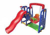 Детский игровой комплекс 3 в 1: горка + качели + баскетбольное кольцо