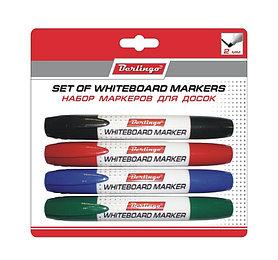 Набор маркеров для досок Berlingo 4 цвета, пулевидный