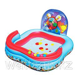 Надувной бассейн, BESTWAY, 91015, 157х157х91 см, 151 литр, Винил, Бело-Красный, Цветная коробка