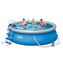 Надувной бассейн, BESTWAY, 57142, 366х91 см, 6665 литров, Винил, Бело-Зелёный, Цветная коробка