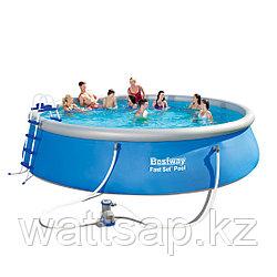 Надувной бассейн, BESTWAY, 57291 (57212), 549х122 см, 13807 литров, Винил, Голубой, Цветная коробка