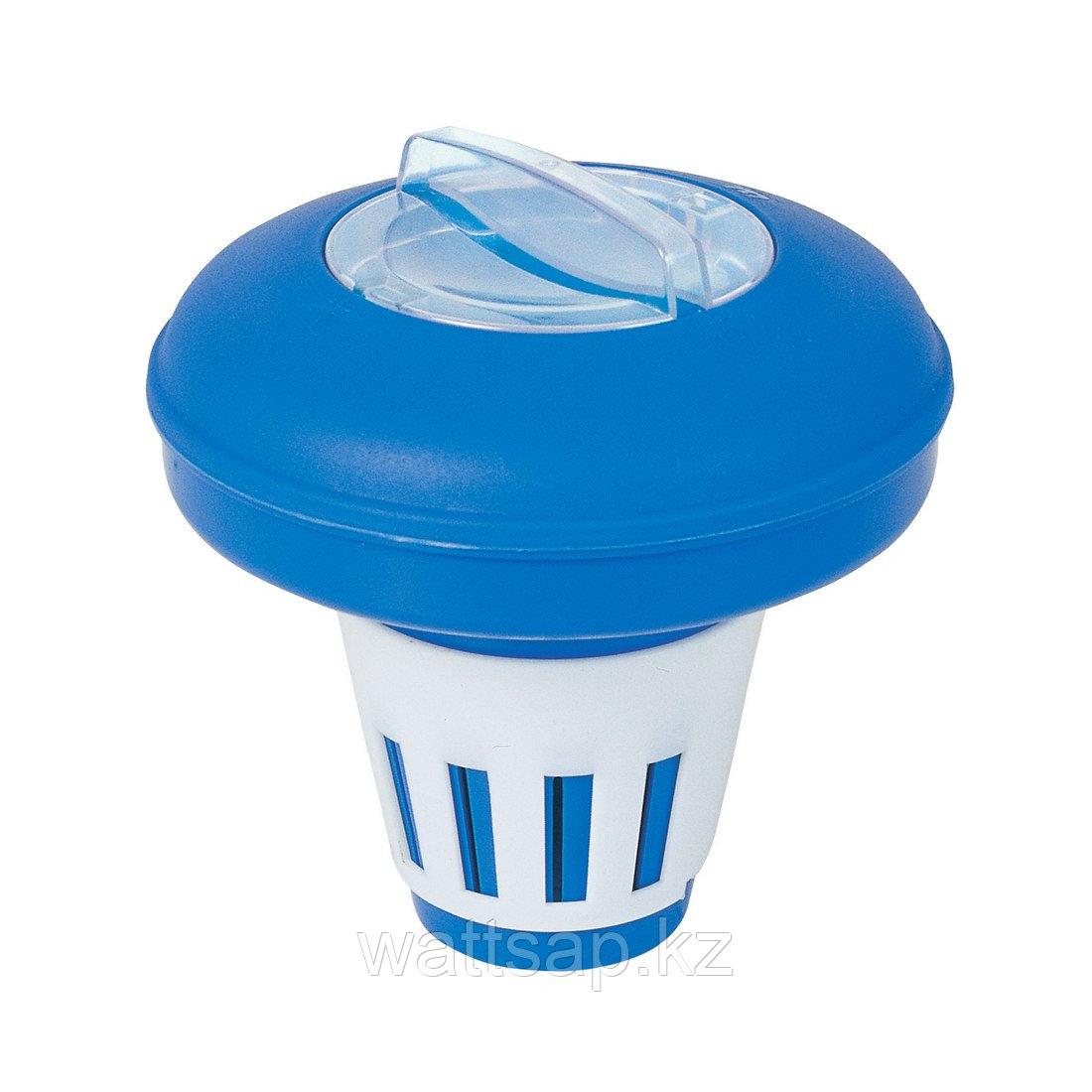 Плавающий дозатор, BESTWAY, 58071, Пластик, Таблетки не входят в комплект, Бело-Синий, Цветная коробка