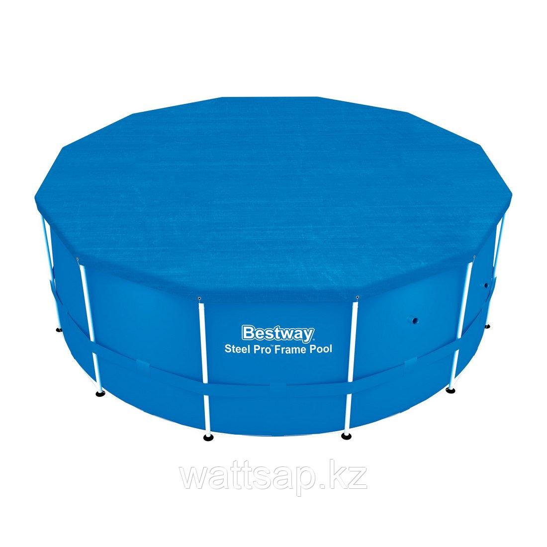 Тент для бассейна, BESTWAY, 58037, 366 см, Полиэтилен, Шнуры для крепления, Синий, Цветная коробка