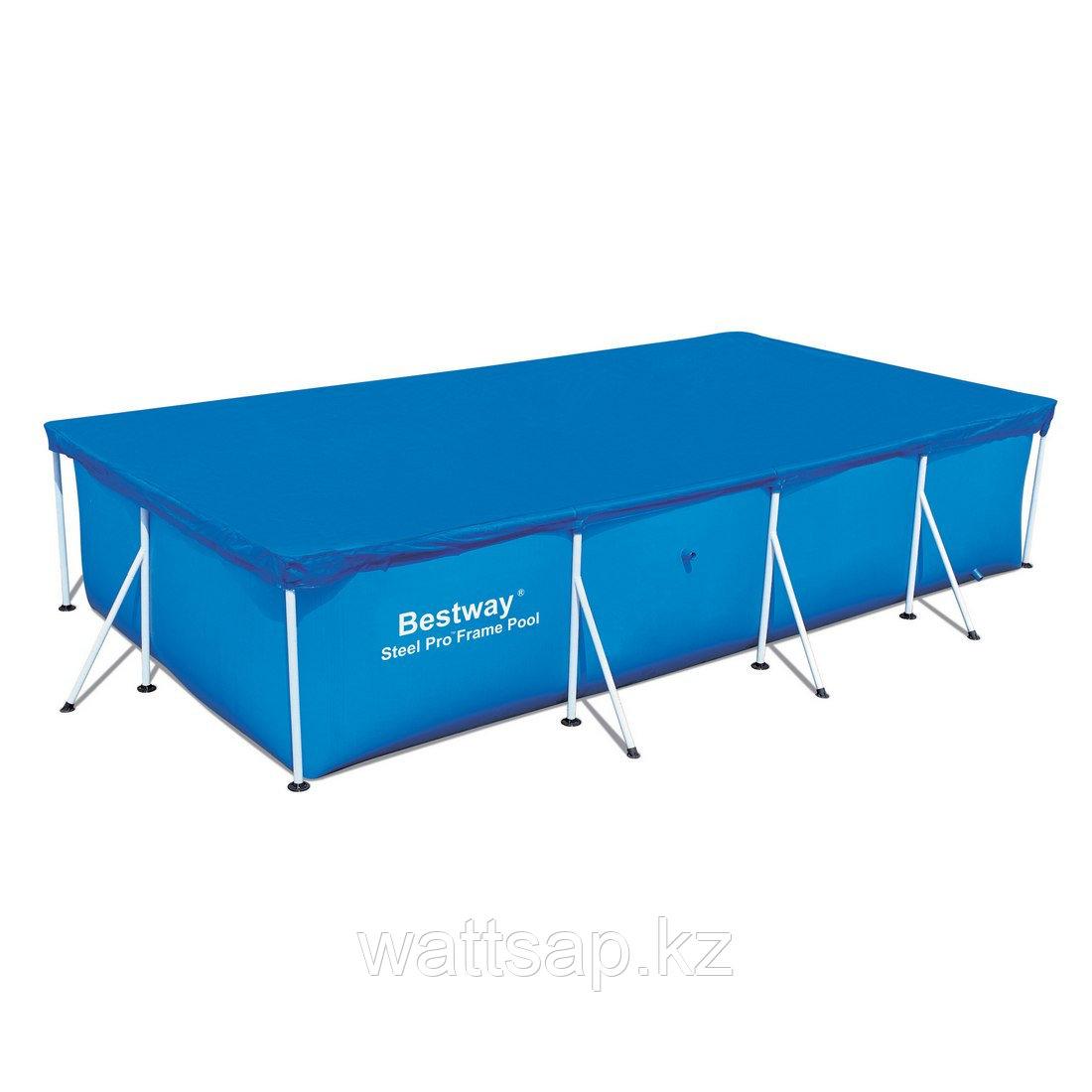 Тент для бассейна, BESTWAY, 58107, 400х211х81 см, Полиэтилен, Шнуры для крепления, Синий, Цветная коробка