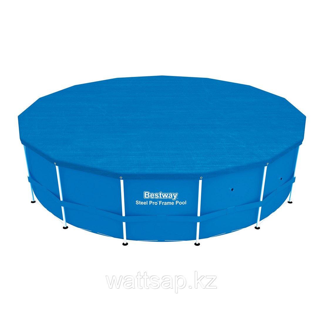 Тент для бассейна, BESTWAY, 58134, 457х122 см, Полиэтилен, Шнуры для крепления, Синий, Цветная коробка
