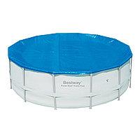 Тент для бассейна, BESTWAY, 58248, 427 см, Полиэтилен, Шнуры для крепления, Синий, Цветная коробка, фото 1