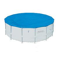 Тент для бассейна, BESTWAY, 58249, 488 см, Полиэтилен, Шнуры для крепления, Синий, Цветная коробка, фото 1