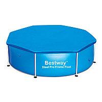 Тент для бассейна, BESTWAY, 58301, 244х61 см, Полиэтилен, Шнуры для крепления, Синий, Цветная коробка