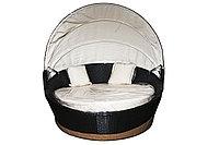 Круглая кровать-шезлонг из искусственного ротанга, с навесом, фото 1