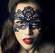 Черная ажурная кружевная маска для глаз,широкая