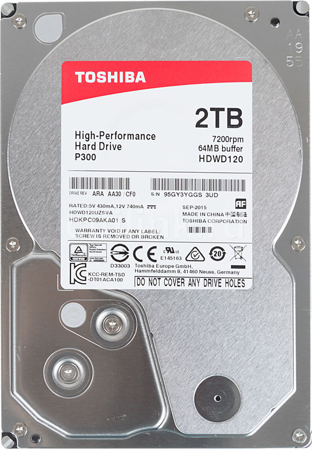 TOSHIBA HDWD120UZSVA Жесткий диск HDD 2Tb SATA 6Gb/s 7200rpm 64Mb 3.5""