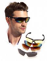 Очки спортивные солнцезащитные с 5 сменными линзами в чехле, красные, фото 1