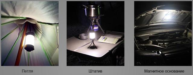 Фонарь можно подвесить за петлю, примагнитить к металлу или установить на штатив, который докупается отдельно (нажмите на изображение, чтобы увеличить)