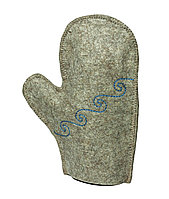 Рукавица для бани и сауны, из шерсти (серая), с вышивкой