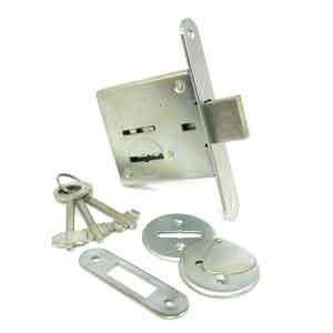 Врезной замок сувальдный оцинкованный с 3 ключами