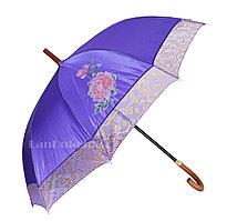 Женский Зонт трость фиолетовый полуавтомат (перламутровый)