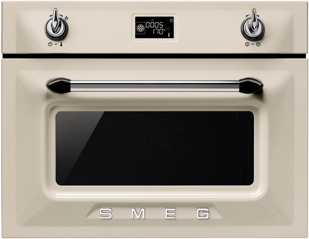 Встраиваемая духовка кремовая с функцией пароварки Smeg SF4920VCP