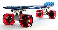 """Пластборд (Пенни борд) 22,5"""" TRANSPARENT (синяя прозрачная дека / вишневые прозрачные колеса)"""