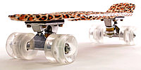 "Пластборд (Пенни борд) 22"" LEOPARD (дека c принтом ""леопард""/прозрачные колеса со светодиодами), фото 1"