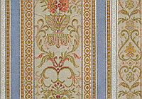 Обивочная/портьерная ткань с цветочным орнаментом и полосой