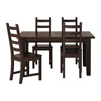 Стол раскладной и 4 стула СТУРНЭС / КАУСТБИ коричнево-чёрный  ИКЕА, IKEA