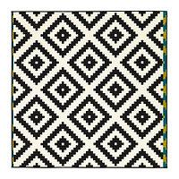 Ковер короткий ворс 200х200 ЛЭППЛЬЮНГ РУТА белый/черный ИКЕА, IKEA , фото 1