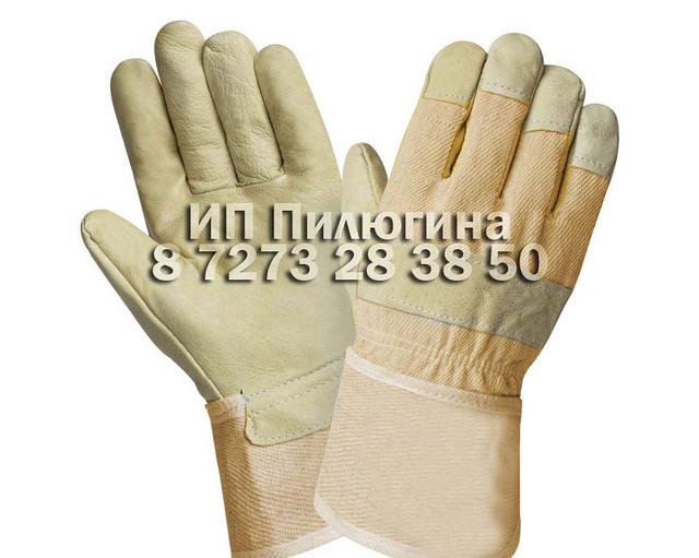 Перчатки кожаные комбинированные зимние