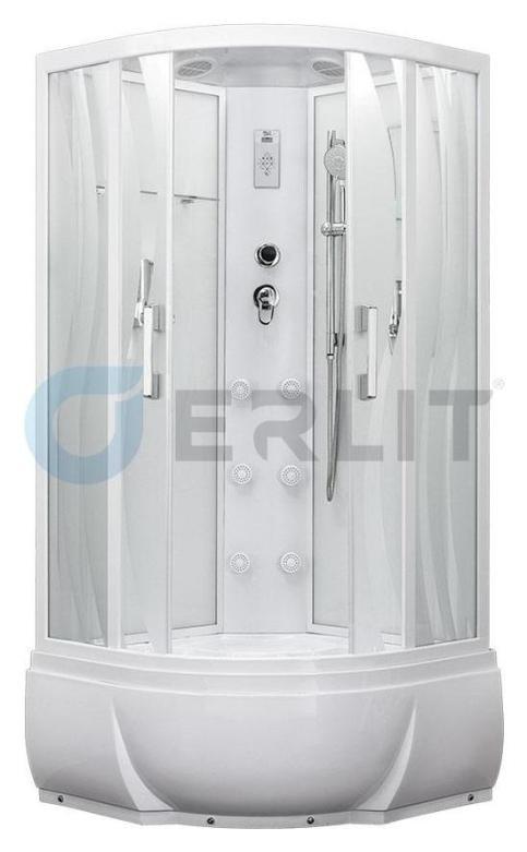 Душевая кабина Erlit ER5509TP-S2 900*900*2150 высокий поддон, светлое стекло (волны)