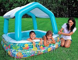 Детский надувной бассейн intex с навесом 157х 157 х 122 см
