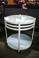 Сервировочный столик на колесиках, белый