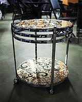 Сервировочный столик на колесиках, золотистый