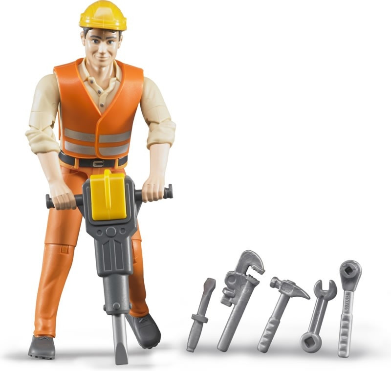 Bruder Фигурка строителя с инструментами (Брудер)