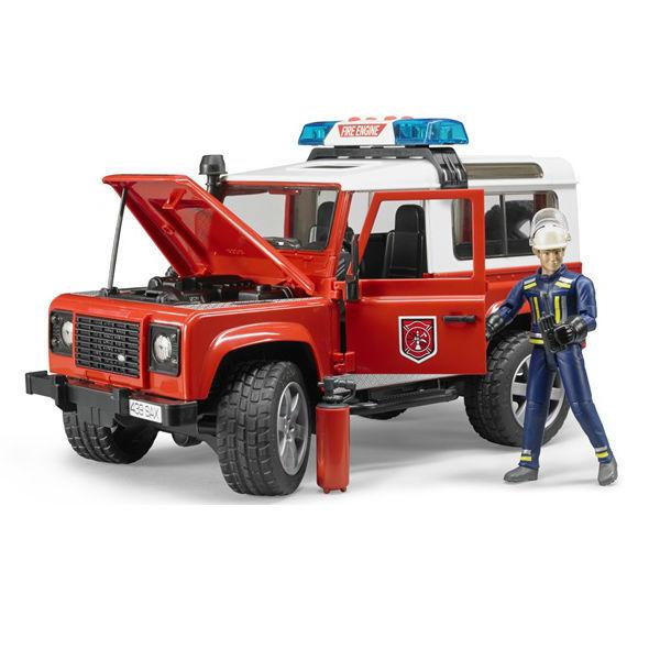 Bruder Игрушечный Пожарный Внедорожник Land Rover Defender Station Wagon с фигуркой (Брудер)