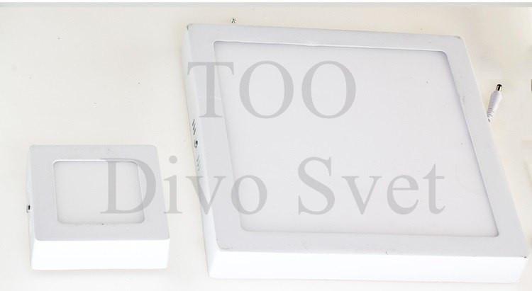 Светодиодный квадратный накладной потолочный светильник 12w, 17*17 см (потолочный армстронг)