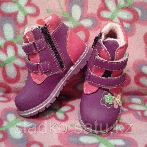 Ботинки для девочки теплые осенние цветочки - фото 1