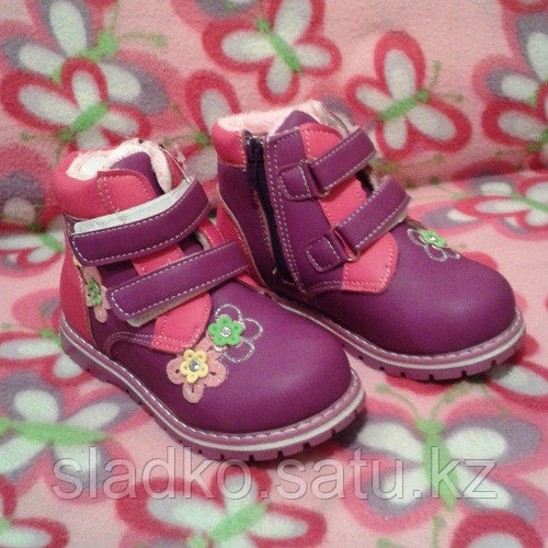 Ботинки для девочки теплые осенние цветочки - фото 2