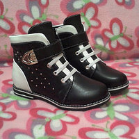Ботинки для девочки черно-белые шалунишки