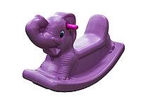 Детские качели-качалка в виде слоника (сиреневые)