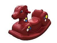 Детские качели-качалка в виде олененка (красные)