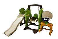 Детский игровой комплекс 3 в 1: горка+качели+кольцо, 180*121 см