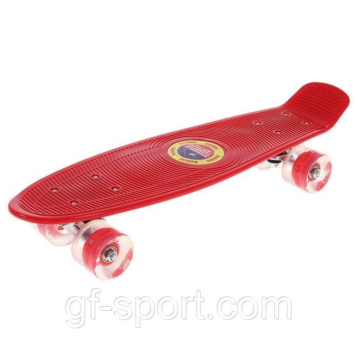 """Пенни борд 22 """"Penny board"""" со светящимися колёсами(красный)"""