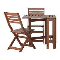 Стол+2 складных стула, д/сада ЭПЛАРО коричневая морилка ИКЕА, IKEA, фото 1