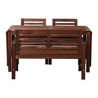 Стол+2 скамьи, д/сада ЭПЛАРО коричневая морилка ИКЕА, IKEA