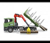 Bruder Игрушечный Лесовоз Scania с портативным краном и брёвнами (Брудер)